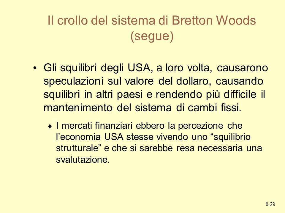 8-29 Il crollo del sistema di Bretton Woods (segue) Gli squilibri degli USA, a loro volta, causarono speculazioni sul valore del dollaro, causando squ