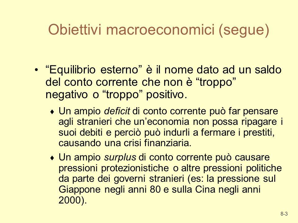 8-3 Obiettivi macroeconomici (segue) Equilibrio esterno è il nome dato ad un saldo del conto corrente che non è troppo negativo o troppo positivo. Un