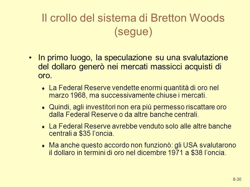 8-30 Il crollo del sistema di Bretton Woods (segue) In primo luogo, la speculazione su una svalutazione del dollaro generò nei mercati massicci acquis