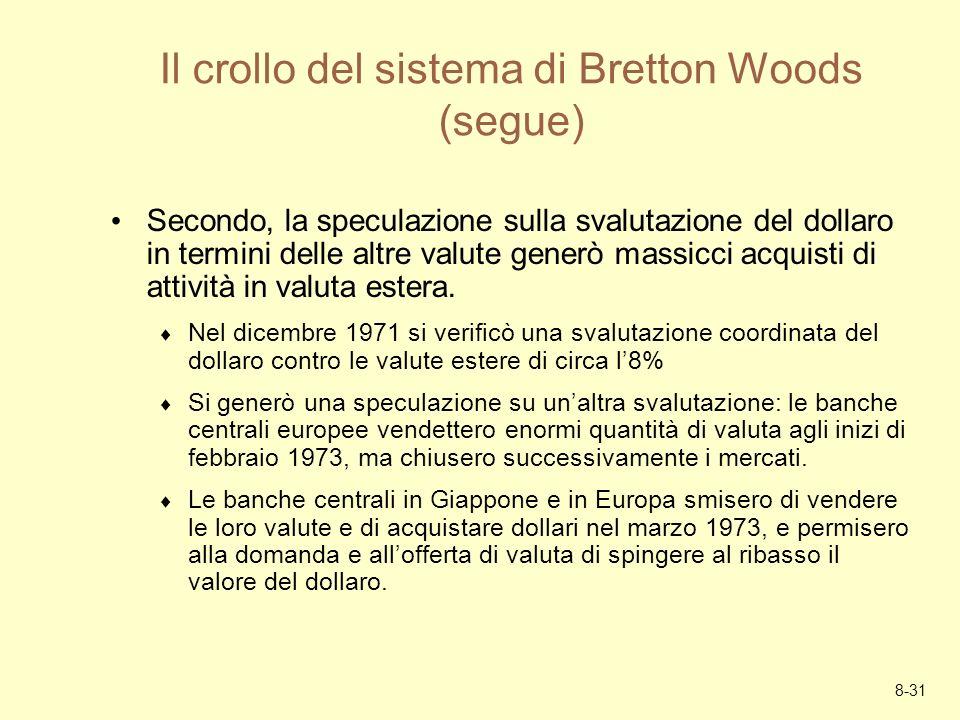 8-31 Il crollo del sistema di Bretton Woods (segue) Secondo, la speculazione sulla svalutazione del dollaro in termini delle altre valute generò massi