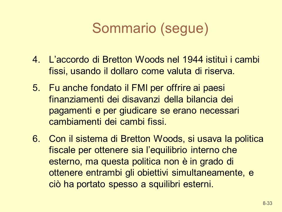 8-33 Sommario (segue) 4.Laccordo di Bretton Woods nel 1944 istituì i cambi fissi, usando il dollaro come valuta di riserva. 5.Fu anche fondato il FMI