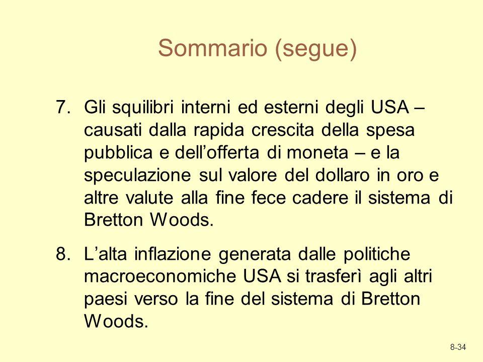 8-34 Sommario (segue) 7.Gli squilibri interni ed esterni degli USA – causati dalla rapida crescita della spesa pubblica e dellofferta di moneta – e la