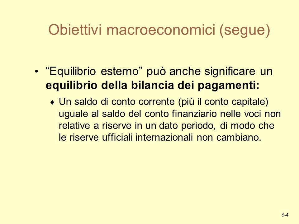 8-4 Obiettivi macroeconomici (segue) Equilibrio esterno può anche significare un equilibrio della bilancia dei pagamenti: Un saldo di conto corrente (