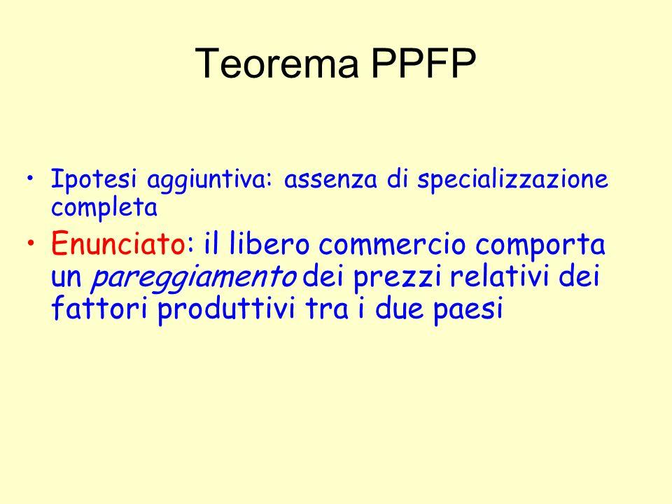 Teorema PPFP Ipotesi aggiuntiva: assenza di specializzazione completa Enunciato: il libero commercio comporta un pareggiamento dei prezzi relativi dei