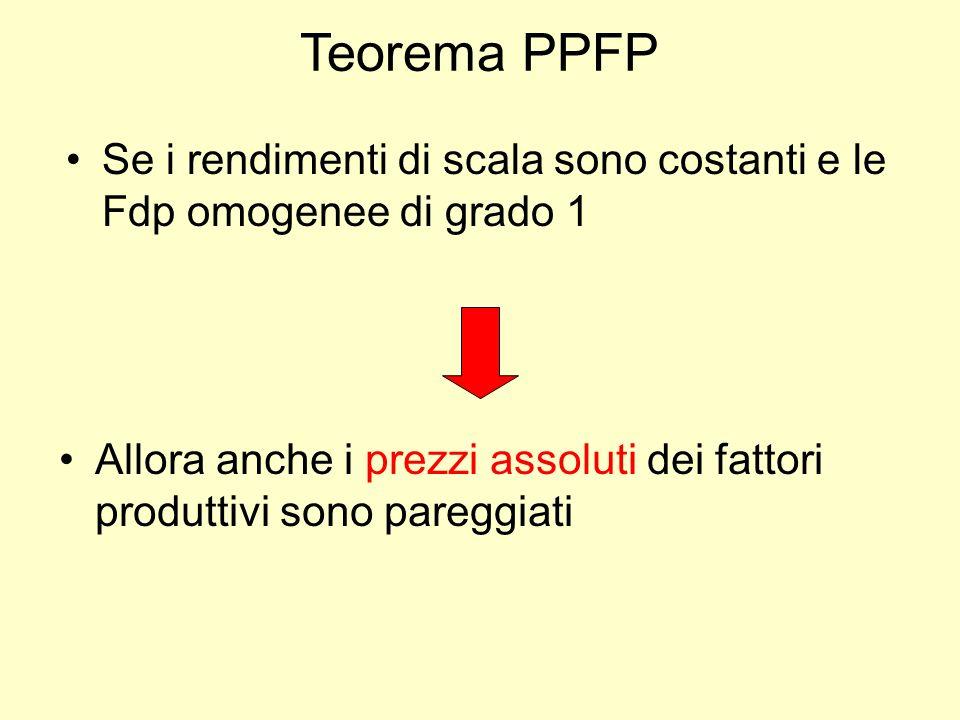 Teorema PPFP Se i rendimenti di scala sono costanti e le Fdp omogenee di grado 1 Allora anche i prezzi assoluti dei fattori produttivi sono pareggiati