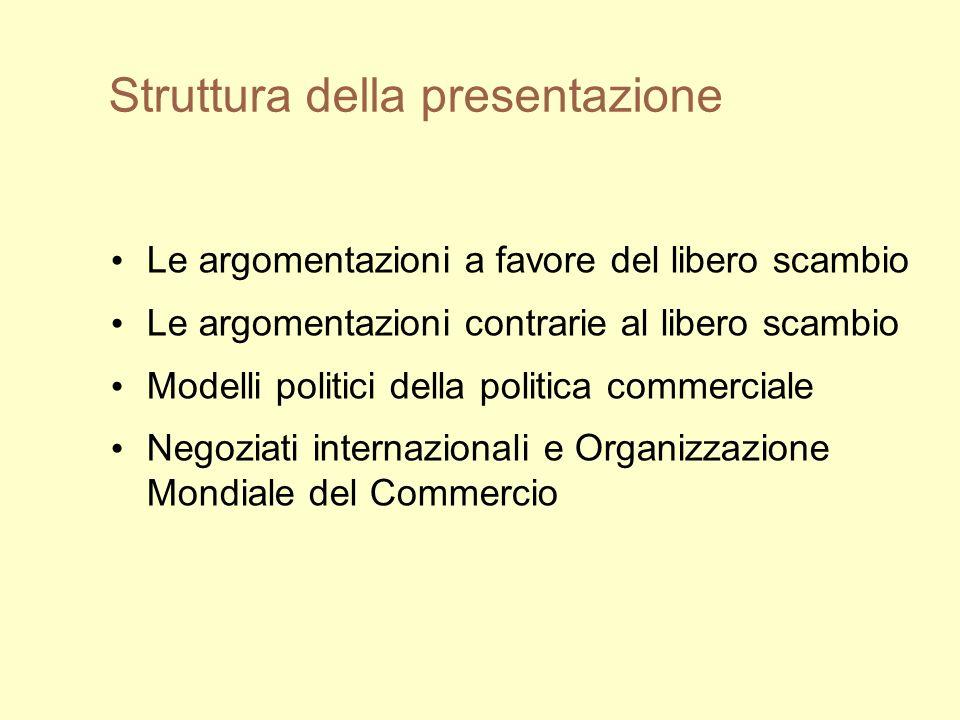 Struttura della presentazione Le argomentazioni a favore del libero scambio Le argomentazioni contrarie al libero scambio Modelli politici della politica commerciale Negoziati internazionali e Organizzazione Mondiale del Commercio
