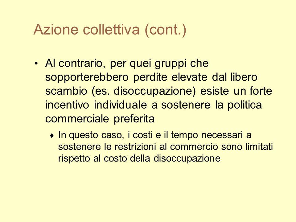 Azione collettiva (cont.) Al contrario, per quei gruppi che sopporterebbero perdite elevate dal libero scambio (es.