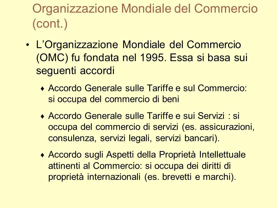 Organizzazione Mondiale del Commercio (cont.) LOrganizzazione Mondiale del Commercio (OMC) fu fondata nel 1995.