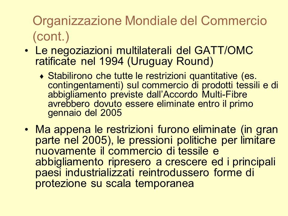 Organizzazione Mondiale del Commercio (cont.) Le negoziazioni multilaterali del GATT/OMC ratificate nel 1994 (Uruguay Round) Stabilirono che tutte le restrizioni quantitative (es.