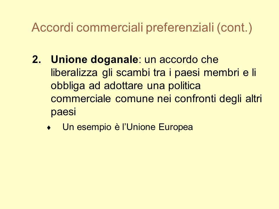Accordi commerciali preferenziali (cont.) 2.Unione doganale: un accordo che liberalizza gli scambi tra i paesi membri e li obbliga ad adottare una politica commerciale comune nei confronti degli altri paesi Un esempio è lUnione Europea