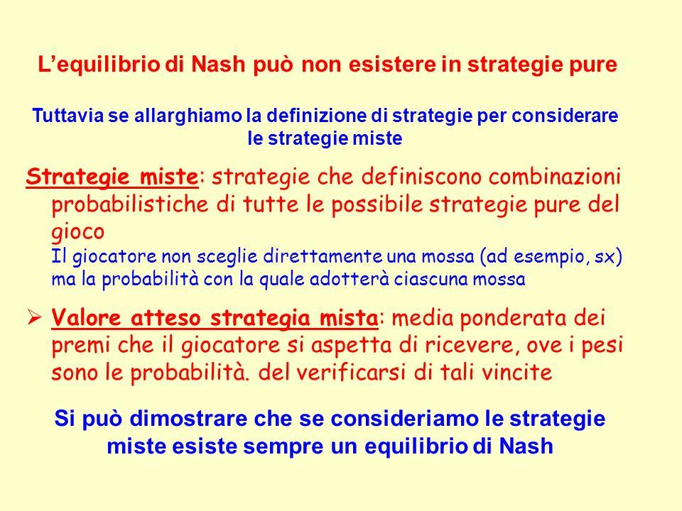 Strategie miste: strategie che definiscono combinazioni probabilistiche di tutte le possibile strategie pure del gioco Il giocatore non sceglie dirett