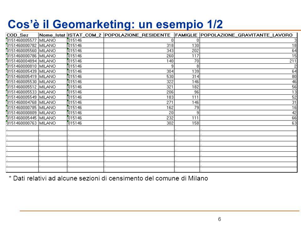 7 Cosè il Geomarketing: un esempio 2/2