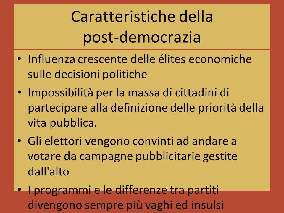 Caratteristiche della post-democrazia Influenza crescente delle élites economiche sulle decisioni politiche Impossibilità per la massa di cittadini di partecipare alla definizione delle priorità della vita pubblica.