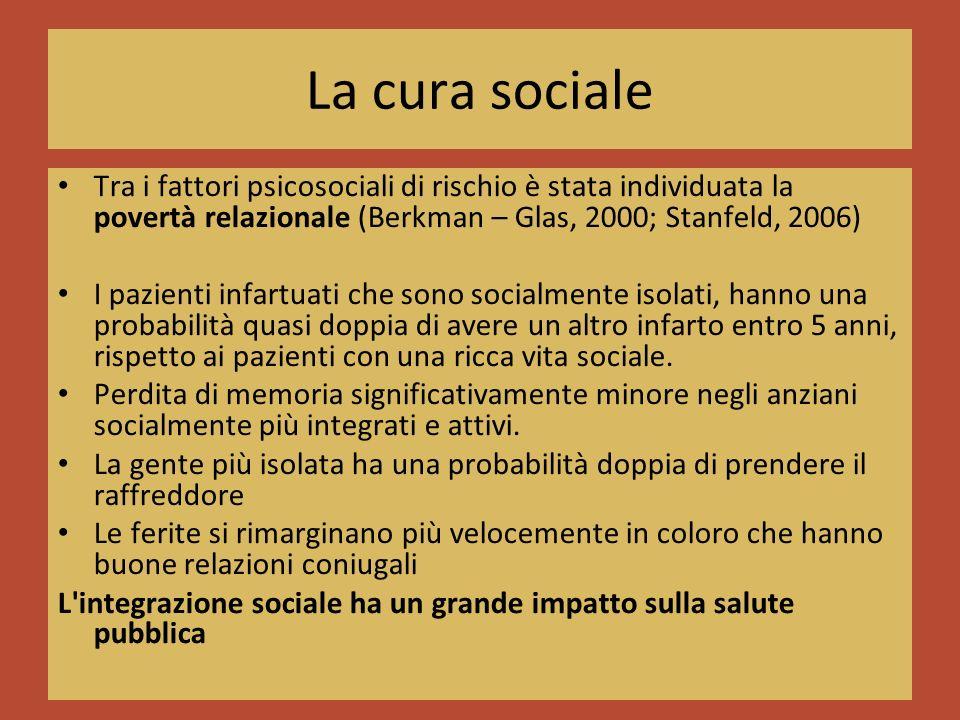 La cura sociale Tra i fattori psicosociali di rischio è stata individuata la povertà relazionale (Berkman – Glas, 2000; Stanfeld, 2006) I pazienti infartuati che sono socialmente isolati, hanno una probabilità quasi doppia di avere un altro infarto entro 5 anni, rispetto ai pazienti con una ricca vita sociale.