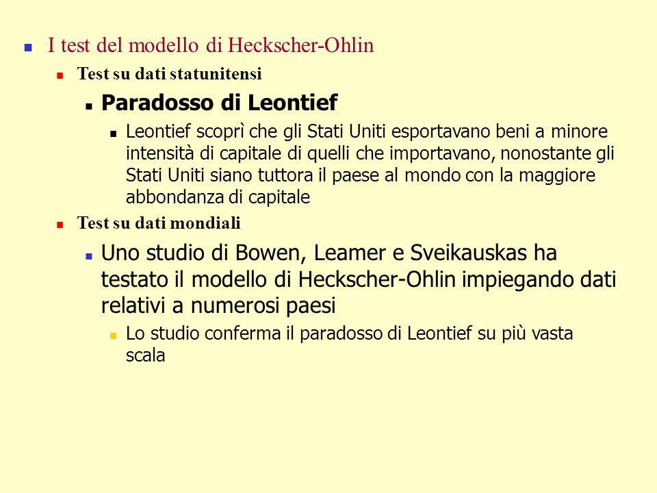 I test del modello di Heckscher-Ohlin Test su dati statunitensi Paradosso di Leontief Leontief scoprì che gli Stati Uniti esportavano beni a minore in