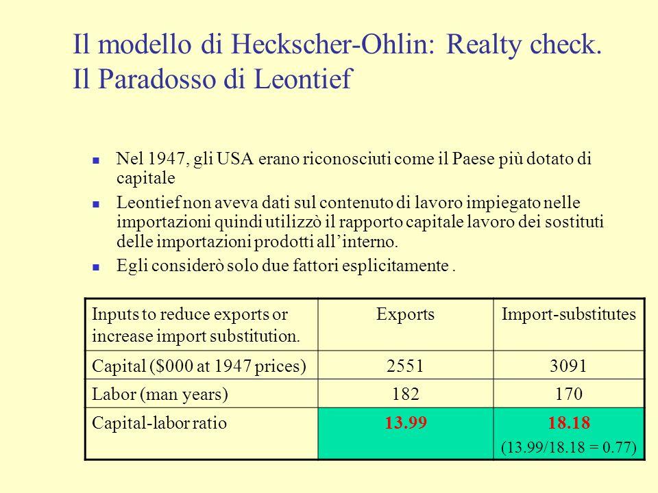Il modello di Heckscher-Ohlin: Realty check. Il Paradosso di Leontief Nel 1947, gli USA erano riconosciuti come il Paese più dotato di capitale Leonti