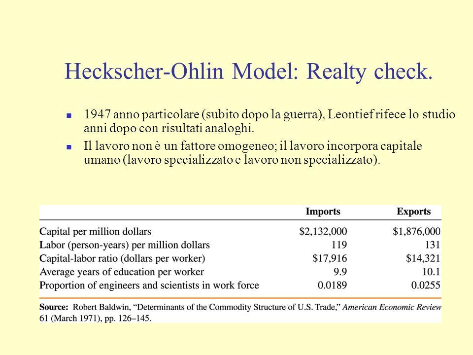Heckscher-Ohlin Model: Realty check. 1947 anno particolare (subito dopo la guerra), Leontief rifece lo studio anni dopo con risultati analoghi. Il lav