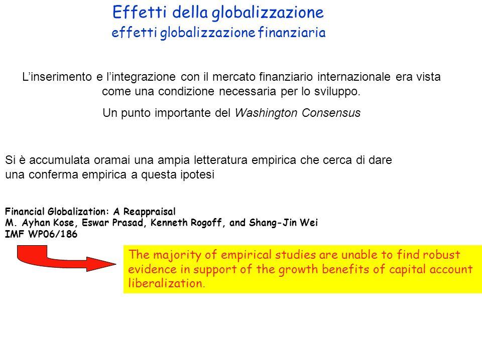Effetti della globalizzazione effetti globalizzazione finanziaria Linserimento e lintegrazione con il mercato finanziario internazionale era vista com