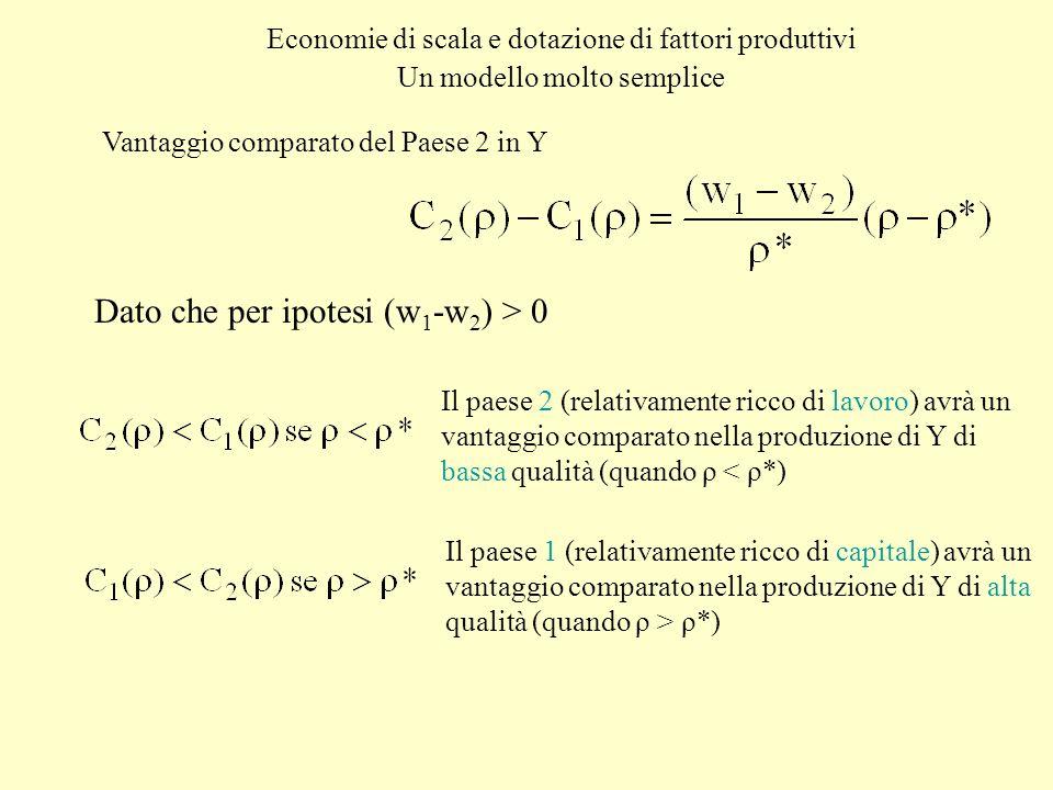 Economie di scala e dotazione di fattori produttivi Un modello molto semplice Vantaggio comparato del Paese 2 in Y Dato che per ipotesi (w 1 -w 2 ) >