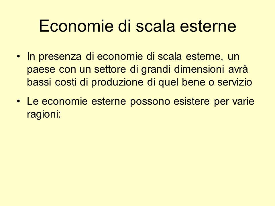 Economie di scala esterne In presenza di economie di scala esterne, un paese con un settore di grandi dimensioni avrà bassi costi di produzione di que
