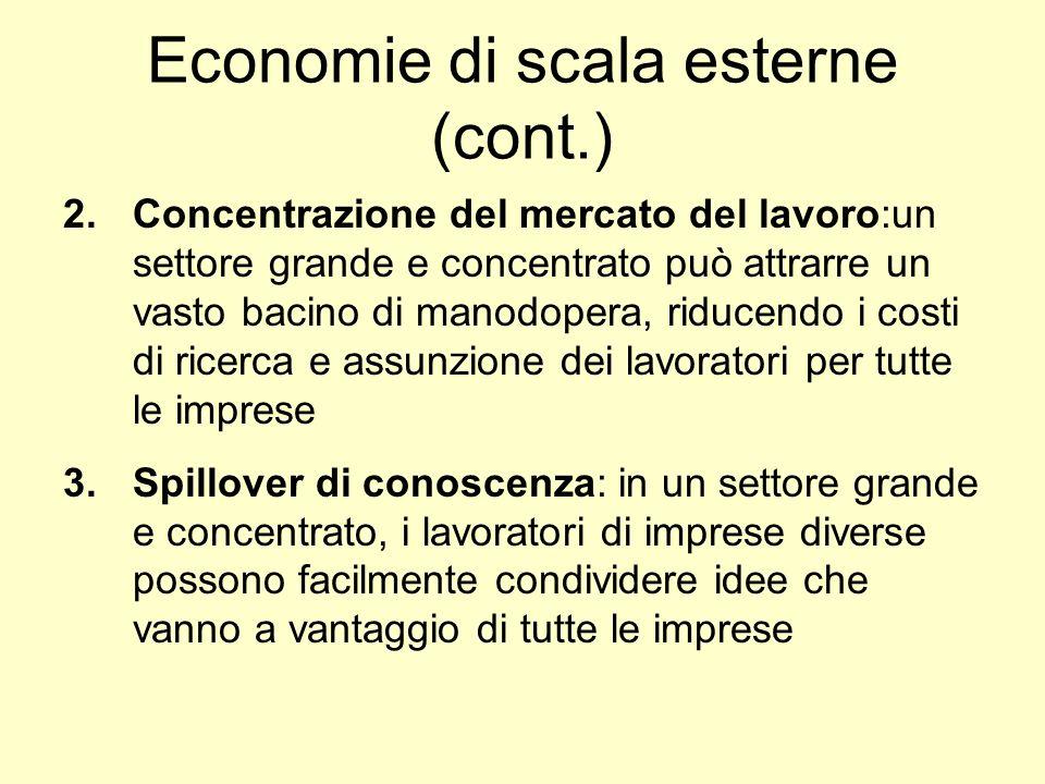 Economie di scala esterne (cont.) 2.Concentrazione del mercato del lavoro:un settore grande e concentrato può attrarre un vasto bacino di manodopera,
