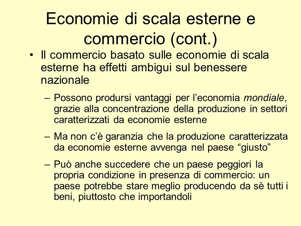 Il commercio basato sulle economie di scala esterne ha effetti ambigui sul benessere nazionale –Possono prodursi vantaggi per leconomia mondiale, graz