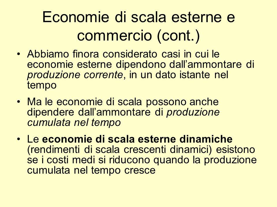 Economie di scala esterne e commercio (cont.) Abbiamo finora considerato casi in cui le economie esterne dipendono dallammontare di produzione corrent