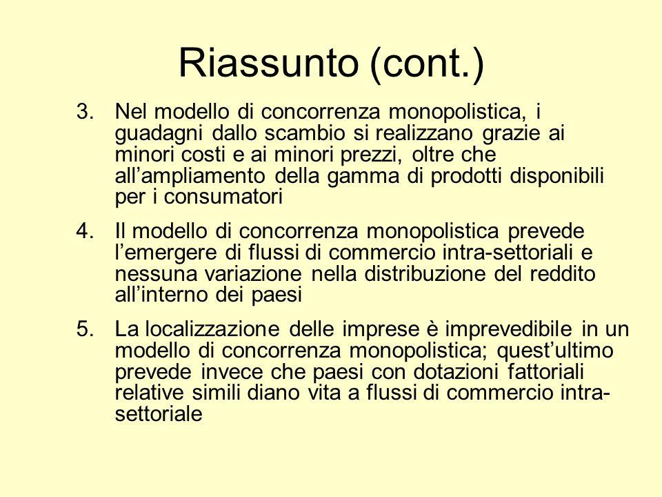 Riassunto (cont.) 3.Nel modello di concorrenza monopolistica, i guadagni dallo scambio si realizzano grazie ai minori costi e ai minori prezzi, oltre