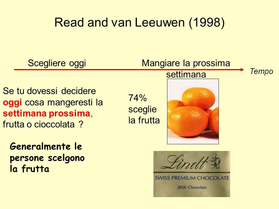 Read and van Leeuwen (1998) Tempo Scegliere e mangiare simultaneamente 70% sceglie la cioccolata Se tu dovessi scegliere oggi cosa mangiare oggi, frutta o cioccolata .
