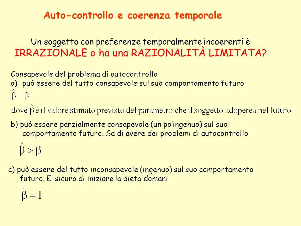 Un soggetto con preferenze temporalmente incoerenti è IRRAZIONALE o ha una RAZIONALITÀ LIMITATA? Auto-controllo e coerenza temporale Consapevole del p