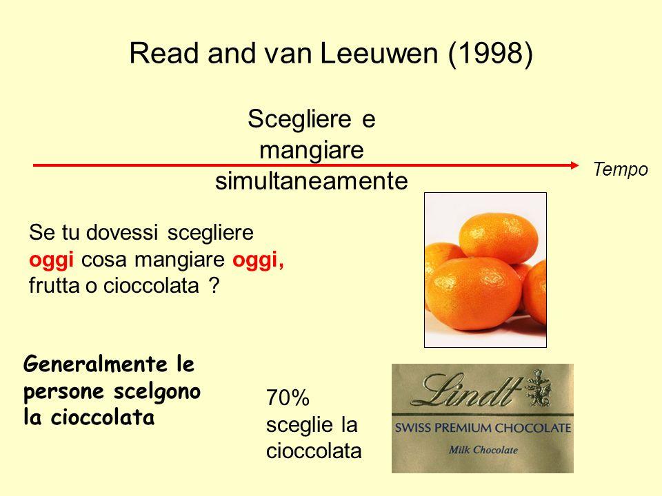 Read and van Leeuwen (1998) Tempo Scegliere e mangiare simultaneamente 70% sceglie la cioccolata Se tu dovessi scegliere oggi cosa mangiare oggi, frut