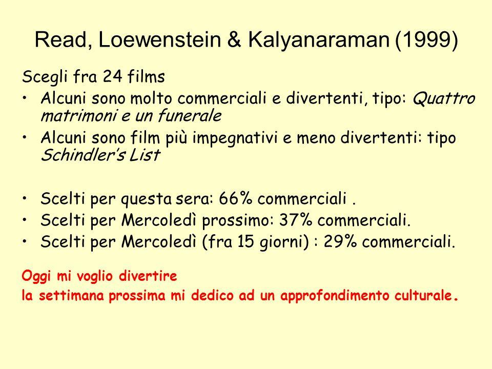 Read, Loewenstein & Kalyanaraman (1999) Scegli fra 24 films Alcuni sono molto commerciali e divertenti, tipo: Quattro matrimoni e un funerale Alcuni s