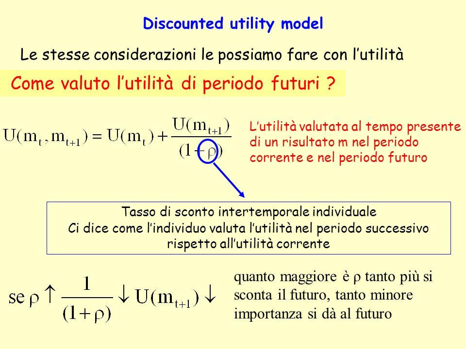 Forme funzionali alternative Funzione di sconto iperbolica Tasso di declino costante Tasso di declino decrescente Il valore attuale di un flusso costante di cento euro con ρ = 0.25 e α = 0.45