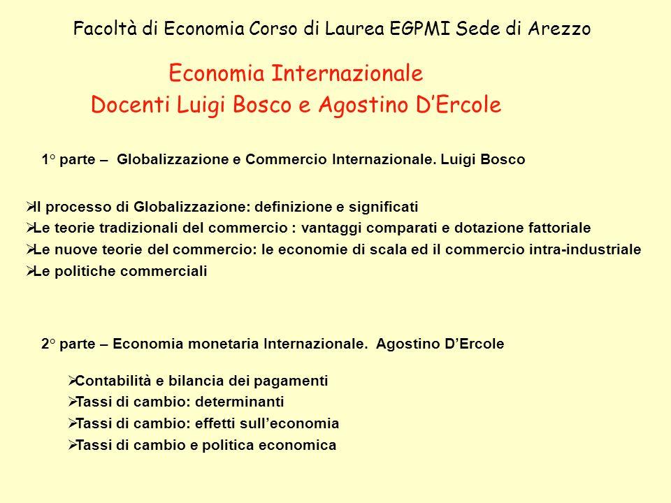 Economia Internazionale Docenti Luigi Bosco e Agostino DErcole Facoltà di Economia Corso di Laurea EGPMI Sede di Arezzo Il processo di Globalizzazione