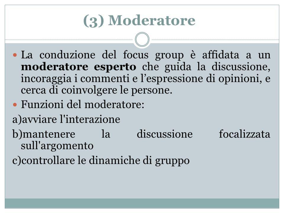 Chi è il moderatore.(membro del gruppo di ricerca o esperto esterno.