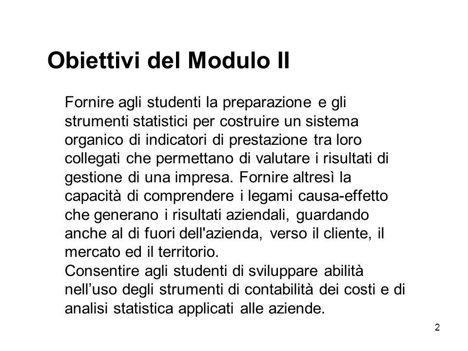 2 Obiettivi del Modulo II Fornire agli studenti la preparazione e gli strumenti statistici per costruire un sistema organico di indicatori di prestazi