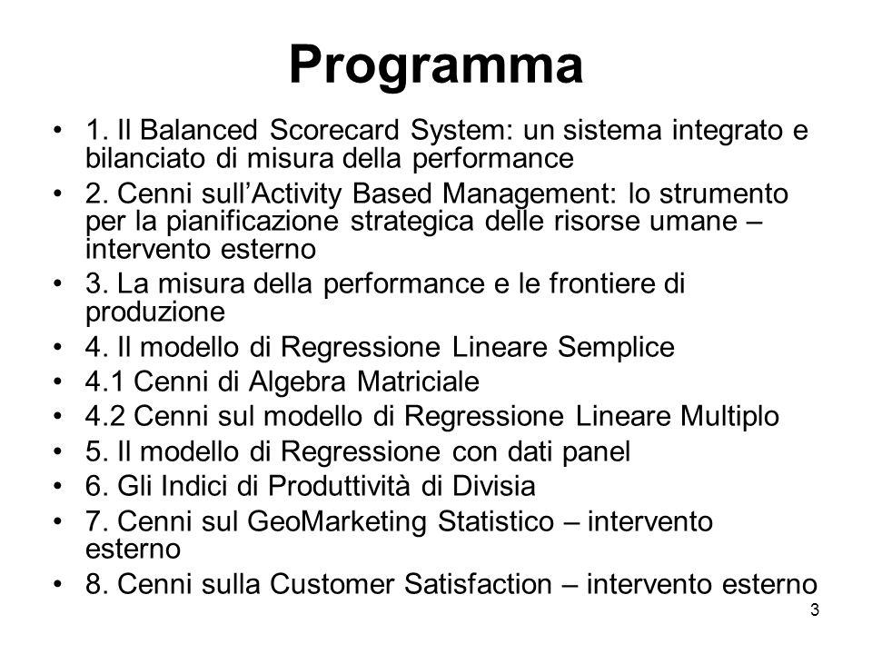 4 Organizzazione del Modulo II – 30 ore 10 Lezioni frontali 3 interventi docenti esterni: Activity Based Management – Prof.