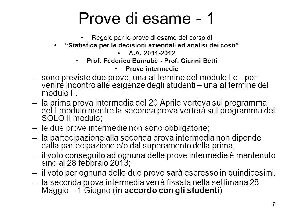 7 Prove di esame - 1 Regole per le prove di esame del corso di Statistica per le decisioni aziendali ed analisi dei costi A.A. 2011-2012 Prof. Federic