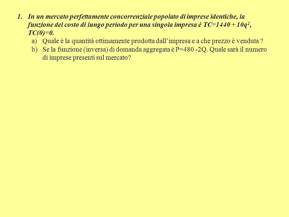 1.In un mercato perfettamente concorrenziale popolato di imprese identiche, la funzione del costo di lungo periodo per una singola impresa è TC=1440 +