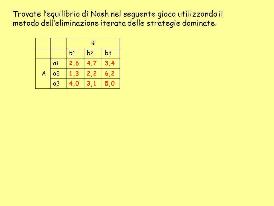 Trovate lequilibrio di Nash nel seguente gioco utilizzando il metodo delleliminazione iterata delle strategie dominate. B b1b2b3 A a12,64,73,4 a21,32,