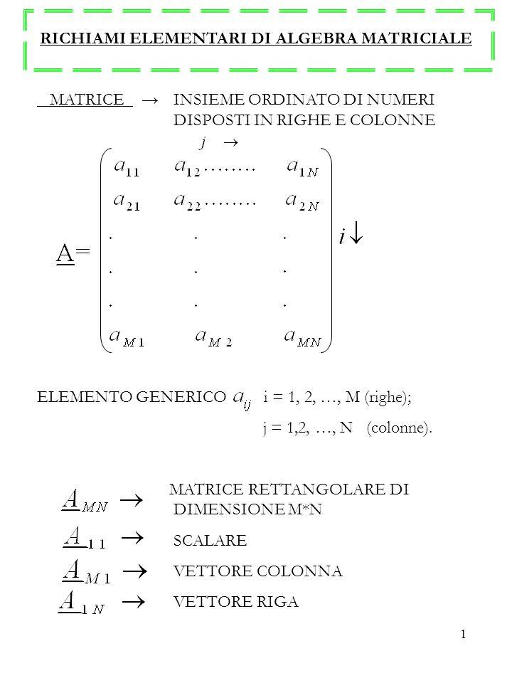 1 RICHIAMI ELEMENTARI DI ALGEBRA MATRICIALE MATRICE INSIEME ORDINATO DI NUMERI DISPOSTI IN RIGHE E COLONNE ELEMENTO GENERICO i = 1, 2, …, M (righe); j = 1,2, …, N (colonne).