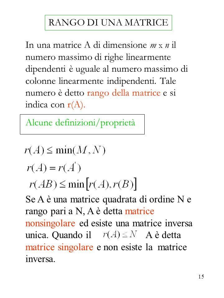 15 RANGO DI UNA MATRICE In una matrice A di dimensione m x n il numero massimo di righe linearmente dipendenti è uguale al numero massimo di colonne linearmente indipendenti.