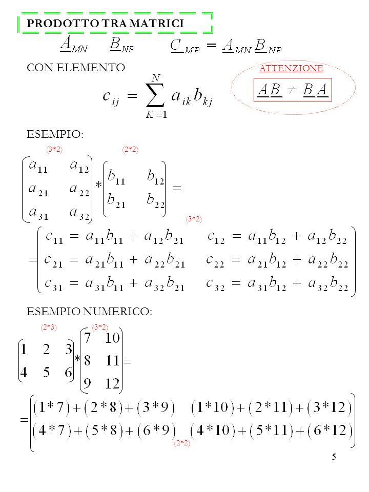 5 PRODOTTO TRA MATRICI CON ELEMENTO ESEMPIO: ESEMPIO NUMERICO: (3*2) (2*2) (2*3) (3*2) (3*2) (2*2) ATTENZIONE