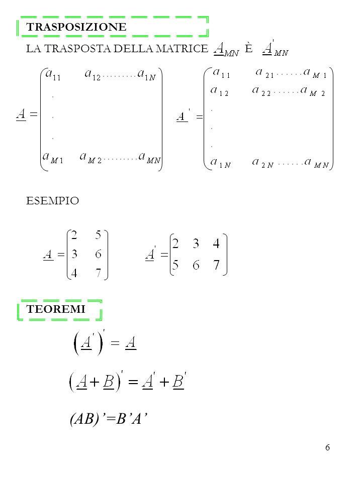 6 TRASPOSIZIONE LA TRASPOSTA DELLA MATRICE È ESEMPIO TEOREMI (AB)=BA