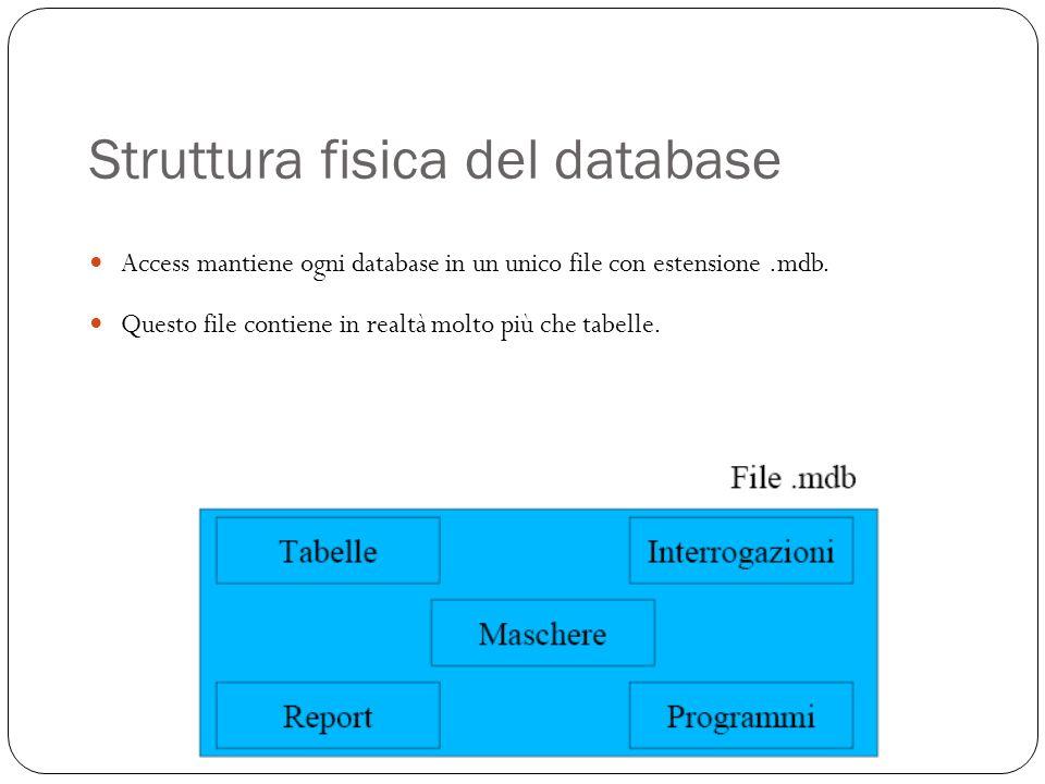 Struttura fisica del database Access mantiene ogni database in un unico file con estensione.mdb.