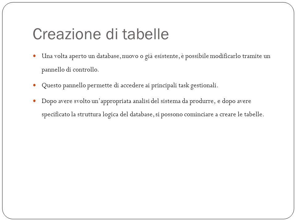 Creazione di tabelle 11 Una volta aperto un database, nuovo o già esistente, è possibile modificarlo tramite un pannello di controllo.