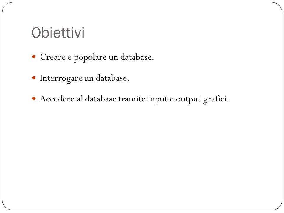 Creazione di tabelle 13 Vogliamo creare il seguente schema: DOCENTI (ID, Nome, Cognome, Dipartimento) CORSI (Codice, Nome, Docente) STUDENTI (Matricola, Nome, Cognome) STUDCORSI (Matricola, Codice)