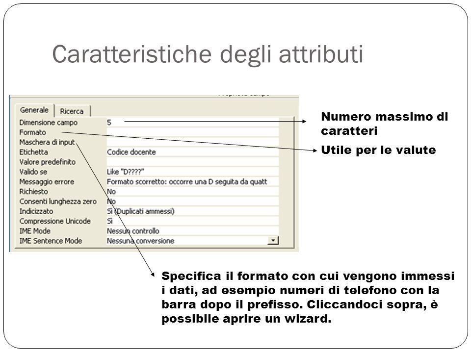 Caratteristiche degli attributi 21 Numero massimo di caratteri Utile per le valute Specifica il formato con cui vengono immessi i dati, ad esempio numeri di telefono con la barra dopo il prefisso.