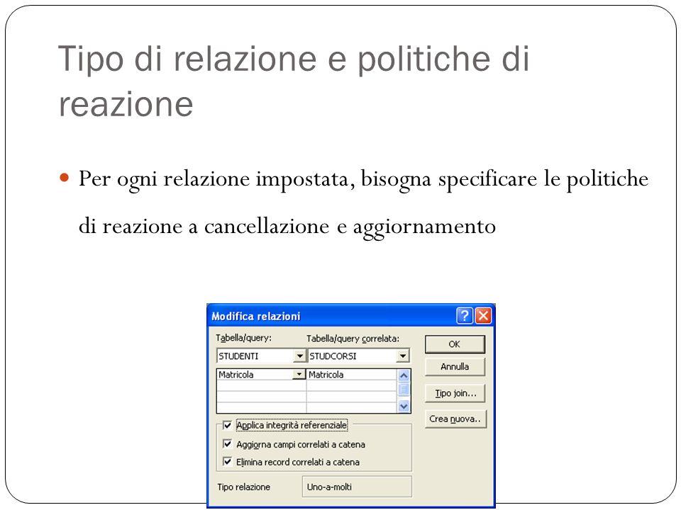 Tipo di relazione e politiche di reazione Per ogni relazione impostata, bisogna specificare le politiche di reazione a cancellazione e aggiornamento 28
