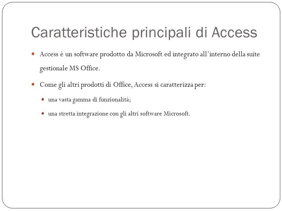 Caratteristiche principali di Access 4 Fornisce le funzionalità di un DBMS (DataBase Management System), pensato per un utilizzo non industriale (Desktop computers).